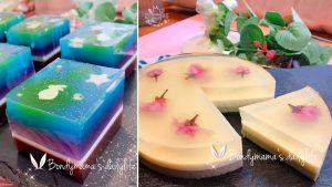 甘杯甜點料理室-「日式和菓子系列」月兔星空水羊羹+琥珀糖